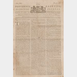 Sold for: $20,400 - Newspapers, Boston Massacre: Providence Gazette and Country Journal