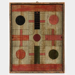 Polychrome Double-sided Parcheesi/Checkers Game Board