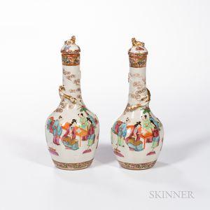 Pair of Rose Medallion Covered Bottle Vases