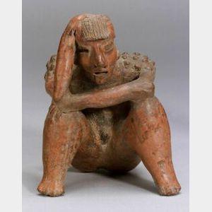 Pre-Columbian Pottery Human Effigy Vessel