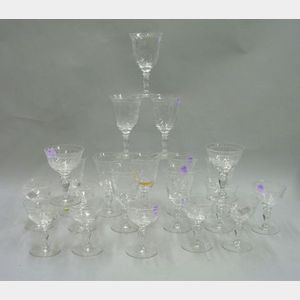 Set of Twenty-one Pieces of Hawkes Colorless Cut Crystal Stemware
