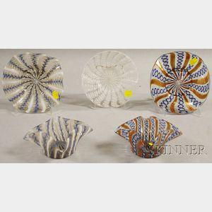 Five Pieces of Murano-style Mid-Century Italian Art Glass