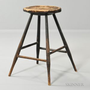 Black-painted Windsor Splay-leg Stool