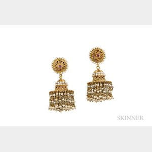 Anglo-Indian High-karat Gold and Pearl Earrings