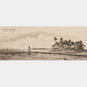 Charles Meryon (French, 1821-1868)      Océanie: Ilots a Uvea (Wallis) pêche aux palmes 1845