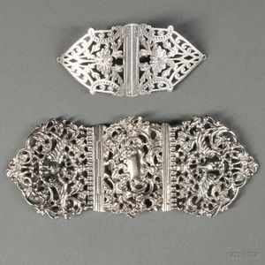 Two Victorian Sterling Silver Belt Clasps