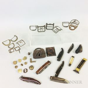 Collection of Revolutionary War Buckles, Padlocks, Buttons, and Knives