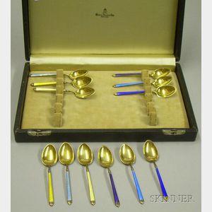 Set of Twelve Watson Gold-washed Sterling and Basse Taille Enamel Demitasse Spoons