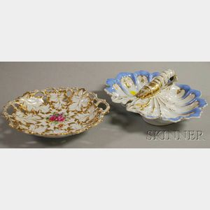 Two European Gilt-decorated Porcelain Dishes