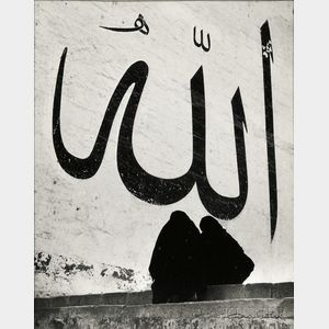 """Ara Güler (Turkish, b. 1928)      A religious inscription to """"Allah"""" outside a Mosque of the 16th century in Edirne, Northern Turkey"""