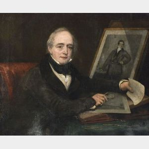 Attributed to Charles Turner (British, 1773-1857) Portrait of the Artist Holding an Impression of His Print after Sir Thomas Lawrences
