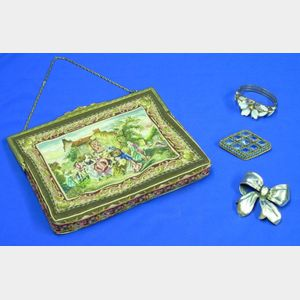 Gilt-metal Framed Petit-point Purse, Monet Sterling Silver Bow-form Brooch, and an Unmarked Costume Bracelet an...