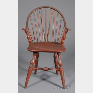 Red-painted Continuous Braced Windsor Armchair
