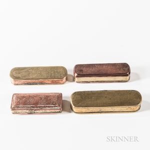 Four Dutch Brass and Copper Tobacco Boxes