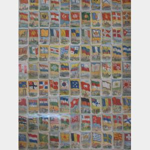 Framed Collection of Ninety-nine Lithograph Flags of the World Cigarette Cards.