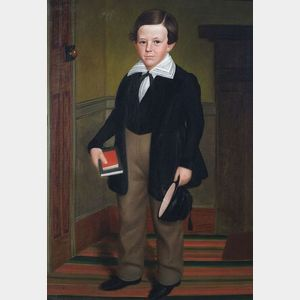 Sold for: $182,000 - Attributed to Deacon Robert Peckham (Fitchburg, Worcester County, Massachusetts,  1785-1877) Portrait of Webster Tucker.