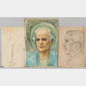 Thomas Matthews Rooke (British, 1842-1942)  Eleven Portrait Studies and Sketches for the Choir Mosaic of St. Pauls Within-th...