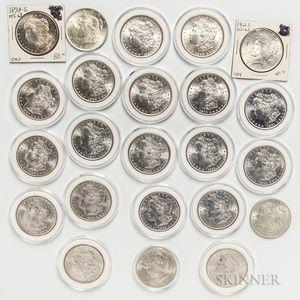 Twenty BU Common Date Morgan Dollars and Three Peace Dollars.