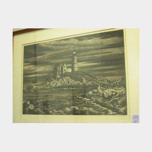Framed Emil Ganso Etching Nubbli Lighthouse