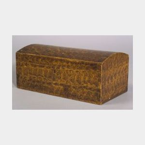 Putty Painted Pine Dome-top Document Box