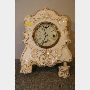 Porcelain Front Mantel Clock by Forestville Hardware and Clock Company