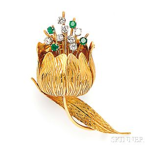 18kt Gold, Emerald, and Diamond Tulip Brooch, Cartier