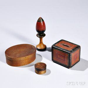 Four Wooden Items, 19th century, including a miniature circular bentwood box, an oval bentwood box, a painted rectangular still bank le