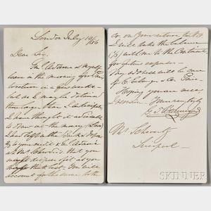 Beauregard, Pierre Gustave Toutant (1818-1893) Autograph Letter Signed, London, 10 July 1866.