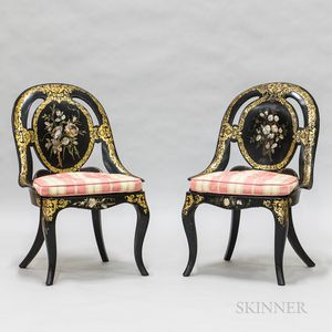 Pair of Victorian Papier-mache Caned Slipper Chairs