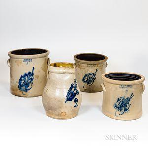 Four Large Cobalt-decorated Stoneware Items