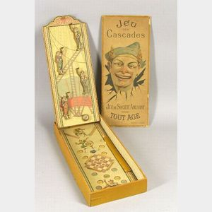 """Boxed Lithographed Wood and Board Clown Bagatelle """"Jes Des Cascades,"""""""
