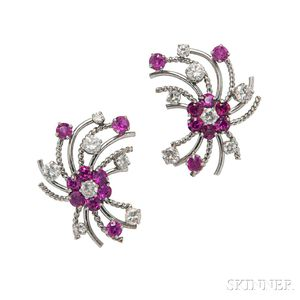 Platinum, Diamond, and Ruby Earrings