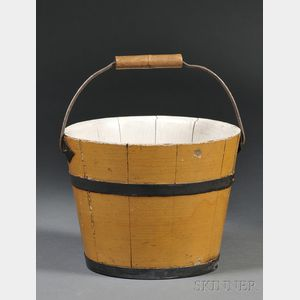 Yellow-painted Wooden Pail