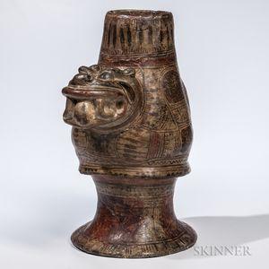 Costa Rican Jaguar Pottery Urn