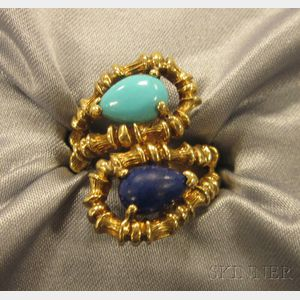 18kt Gold, Lapis, and Turquoise Bypass Ring, Tiffany & Co.
