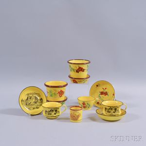 Eleven Pieces of Floral- and Transfer-decorated Tableware.