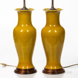 Pair of Crackled Yellow-glazed Vase Lamps