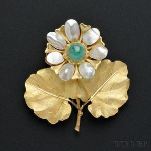 18kt Gold and Emerald Flower Brooch, Mario Buccellati