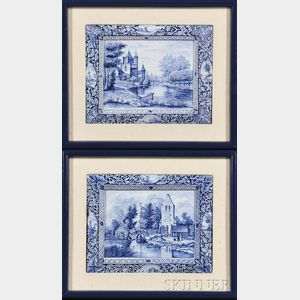 Pair of Dutch Blue and White Porcelain Plaques