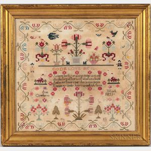 "Large Framed Needlework Sampler ""Ann Cowley,"""