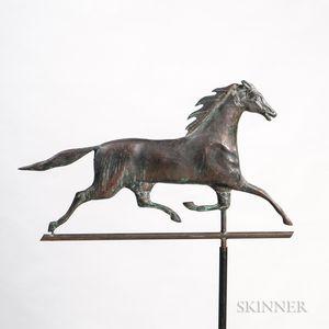 Sheet Copper and Cast Zinc Running Horse Weathervane