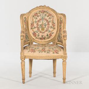 Child's Louis XVI-style Carved and Needlepoint-upholstered Bergere