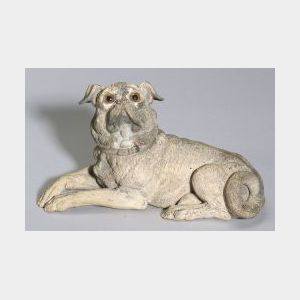 Painted Terra-cotta Figure of a Pug