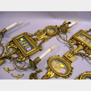 Pair of Louis XVI Style Gilt-metal Mounted Carved Giltwood Wall Sconces.