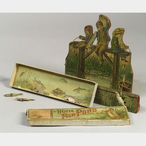 Two Lithographed Paper-on-Wood and Board Fishing Games