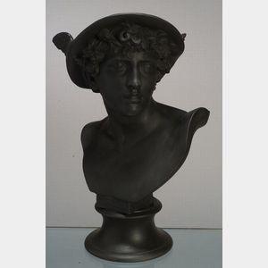 Wedgwood Black Basalt Library Bust of Mercury