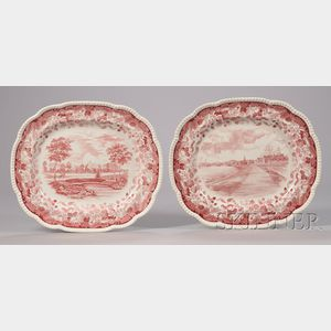 Two Large Wedgwood Red and White Harvard University Transfer-decorated Ceramic   Platters