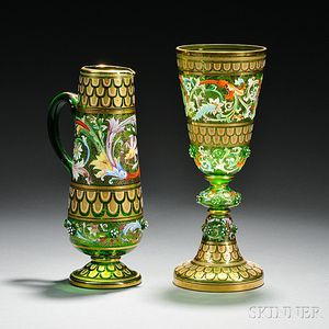 Two Moser-type Gilded and Enameled Green Glass Vessels