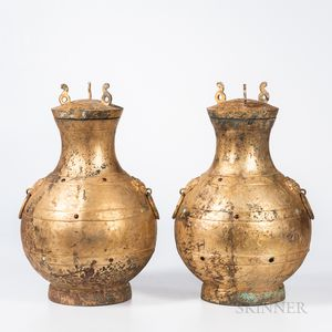 Pair of Archaic-style Gilt-metal Ritual Vessels and Covers