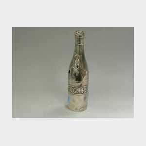 Pairpoint Silver Plated Champagne Bottle-form Cigar Humidor.